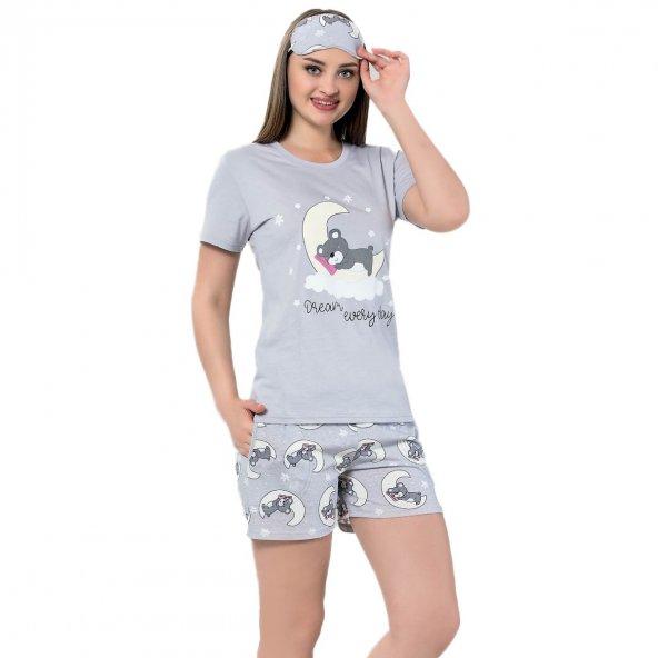 Gri Dream Bear Desenli Şortlu Bayan Pijama Takımı
