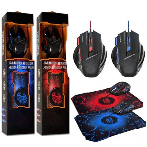 X7 Ledli Oyuncu Faresi 7 Tuşlu Işıklı Gaming Mouse ve Mouse Pad S