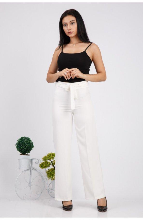 Bol Paça Kuşakli Dabil Pantolon H238 - Beyaz
