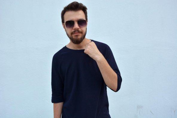 Salaş Bol Kesim Lacivert Oversize T-shirt 2019 yeni trend