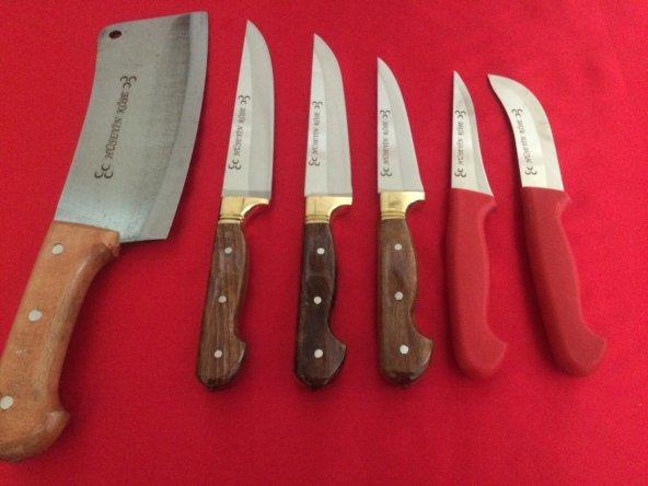 Yatağan El Yapımı 6'LI Kasap Mutfak Kurban Bıçakları Seti