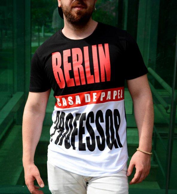 La Casa Da Papel Berlin-Profesör Siyah Beyaz Tshirt