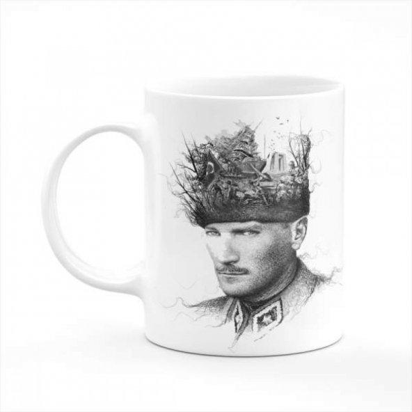 Mustafa Kemal Atatürk ve Fikirleri Çizgisel Baskılı Kupa
