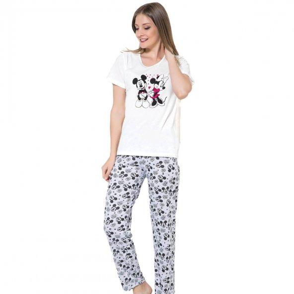 Mickey Mouse Desenli Kısa Kollu Pijama Takımı