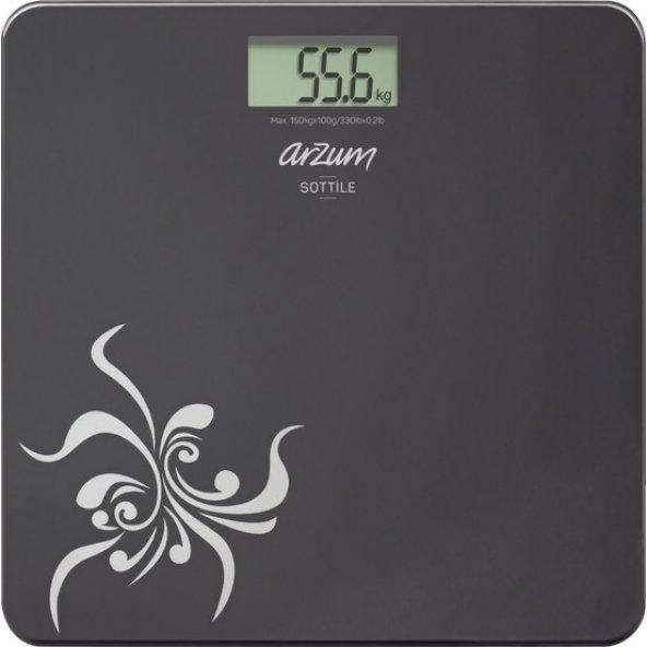 Arzum AR550 Sottile Dijital Cam Banyo Baskülü Siyah