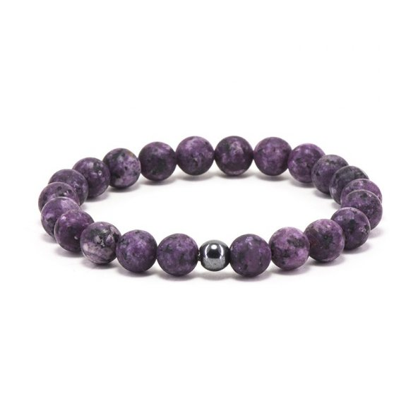 Doğal Taş Kuvars Taşı Bileklik 'Purple Rounds'
