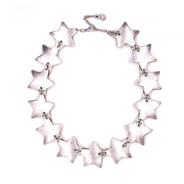 Antik Gümüş Kaplama Kolye 'Stars'