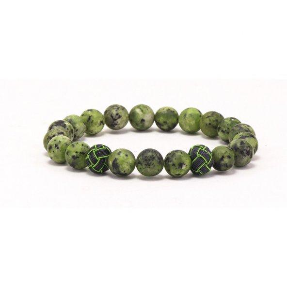 Gümüş Kazaziyeli Doğal Taş Kuvars Bileklik 'Even Green'