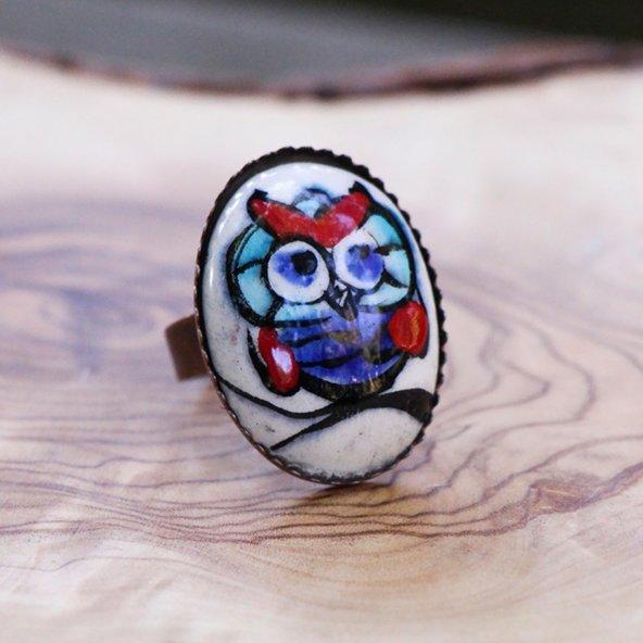 Etnik Özel Tasarım Çini Yüzük 'Cute Owl'