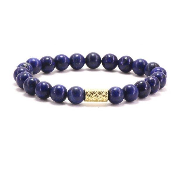 Doğal Taş Altın Kaplama Figürlü Lapis Lazuli Bileklik 'Golden N