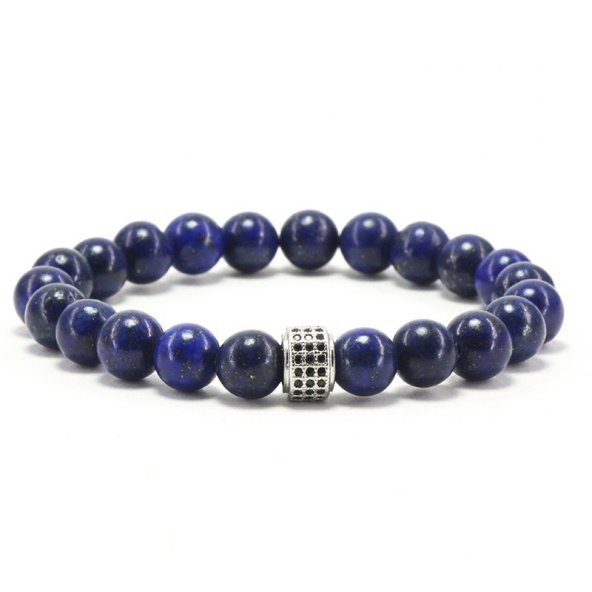 Doğal Taş Lapis Lazuli Bileklik 'Elegant Silver'