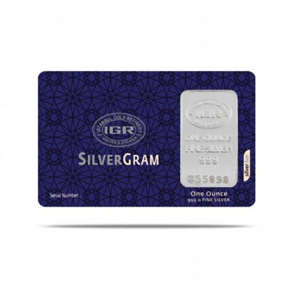One Ounce 31,10 gr Gram Külçe Gümüş