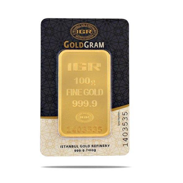 100 gr 999.9 Milyem Saf Gram Külçe Altın