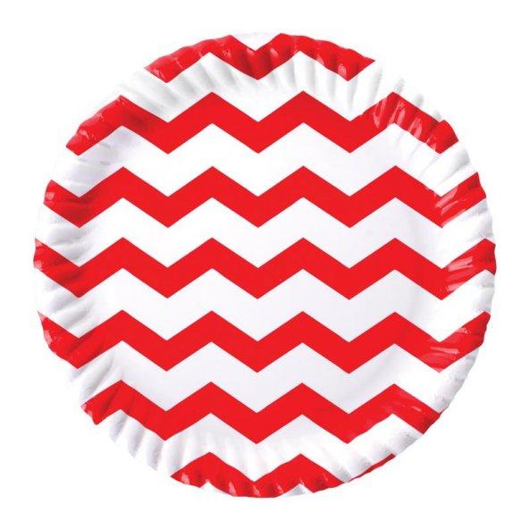 Kırmızı Zigzag Karton Tabak 23 cm 8li