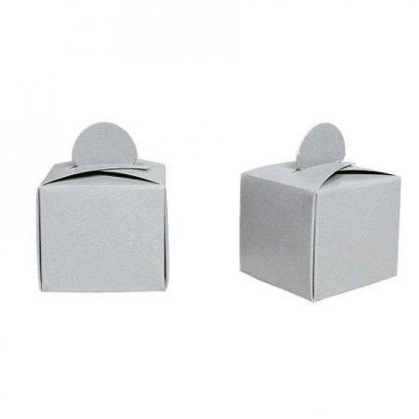 50 Adet Gümüş Gri Mevlüt Boş Lokum İkram Kutusu, Küçük Hediyelik