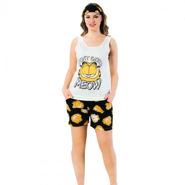 Garfield Desenli Bayan Şortlu Pijama Takımı