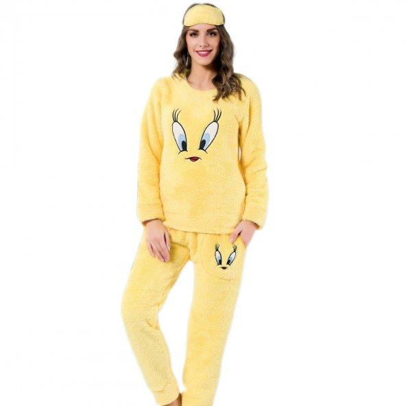 Tweety Desenli Sarı Tam Peluş Pijama Takımı