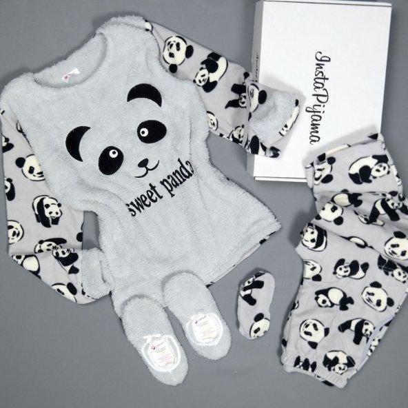 Sweet Dream Panda Desenli Peluş Bayan Pijama Takımı