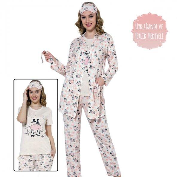 Cow Desenli Sabahlıklı Pijama Takımı