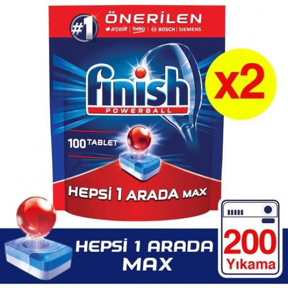 Finish Hepsi Bir Arada Max Bulaşık Makinesi Tableti 100 x 2 Adet