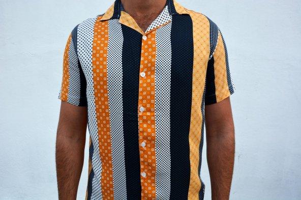 retro erkek gömlek desenli