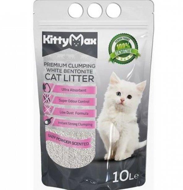 KittyMax Bebek Pudrası Kokulu Bentonit Kedi Kumu İnce 10 Litre