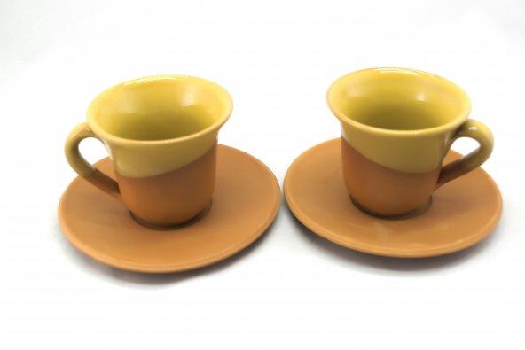 Toprak Kahve Fincanı - Sarı 2'li Set