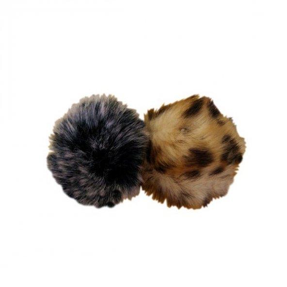 Kedi oyuncağı ikili set leopar desenli ve gri toplar 7-7 cm