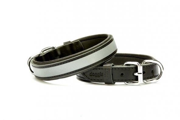Doggie Reflektörlü Deri Köpek Boyun Tasması 2,5 cm / 50 cm Siyah