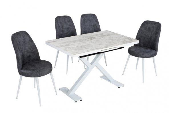Akad Doğal Bir Ürüne Sahip Olun Füme 4 Sandalye Beyaz 1 Masa
