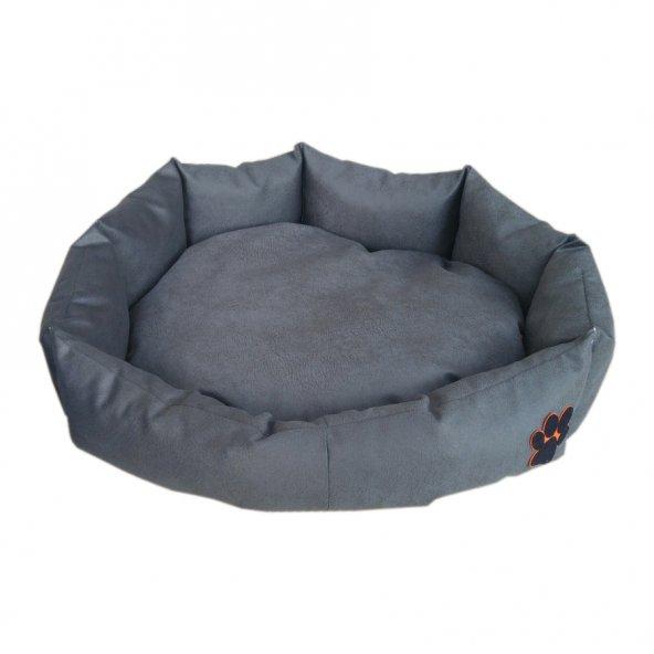 Nohov Oval Tay Tüyü Köpek Yatağı Small 55 cm Gri