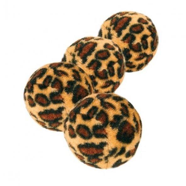 Leopar desenli kedi oyuncak top 4cm 4ad
