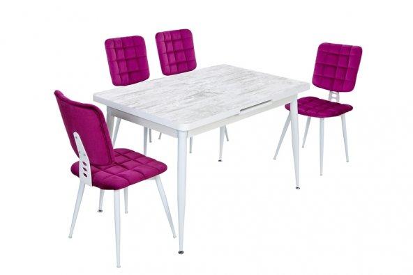 Argeto Işıltıyı Yakalayın Beyaz Masa Ve Fuşya Sandalye Takımı