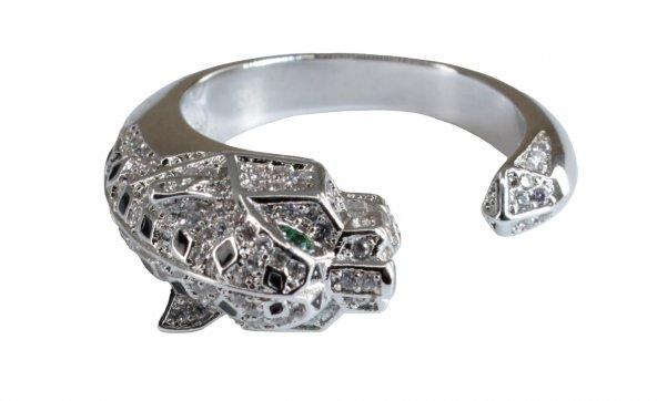 İtalyan Tasarım Pırlanta Çelik Gümüş Altın Panter Leopar Yüzük