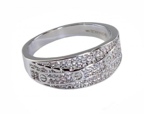 İtalyan Moda Pırlanta Çelik Gümüş Altın Love Çivi Alyans Yüzük