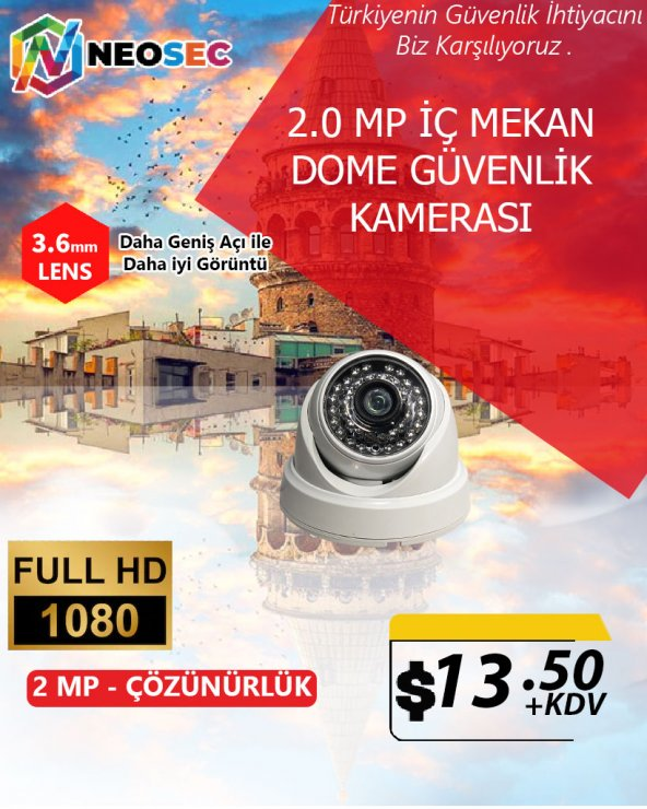 2.0 MP (İÇ MEKAN) DOME GÜVENLİK KAMERASI (HD 1080p)