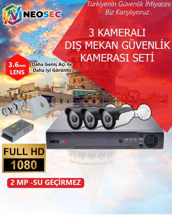 3 KAMERALI (DIŞ MEKAN) GÜVENLİK KAMERASI SETİ HD1080p