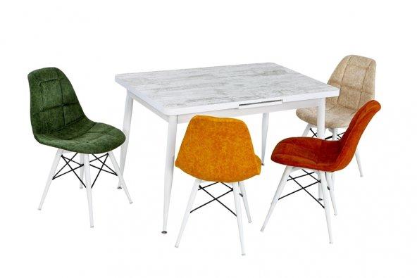 Benka Rahatına Düşkünler Için Beyaz Masa Renkli Sandalye