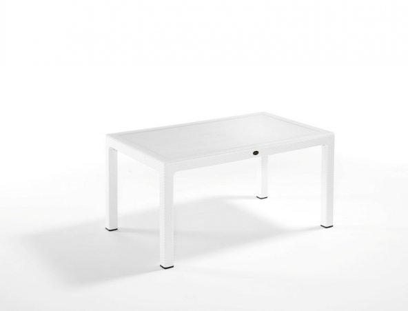 Rattan Masa 90X150 Camlı Beyaz