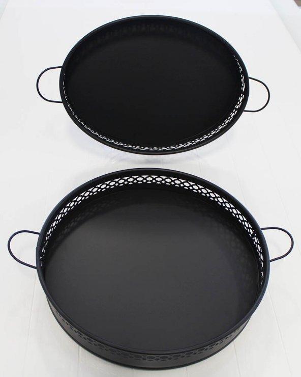 Siyah Tepsi Oval-Yuvarlak 29 Cm Ln1008