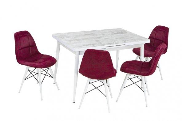 Berhan Estetik Duruşuyla Beyaz 1 Masa Bordo 4 Sandalye