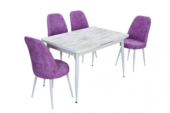 Birev Tasarım Ve Fikrin Kombine Hali Beyaz Masa Mürdüm Sandalye
