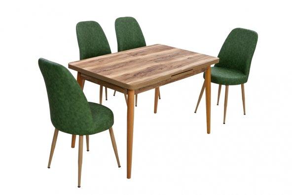 Dora Ceviz Açılır Masa Yeşil Sandalyeli Takımı