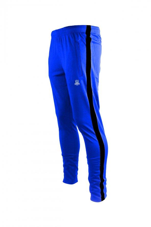 Erkek Mavi Sporcu Eşofman Altı - siyah şerit
