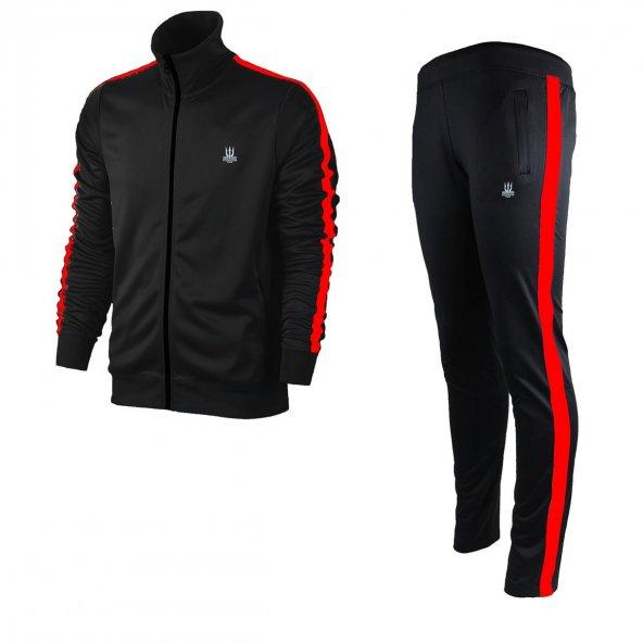 Kadın Siyah Sporcu Eşofman Takım - kırmızı şerit