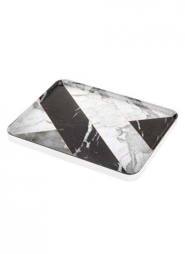 The Mia Büyük Tepsi 45x35 Marble Siyah
