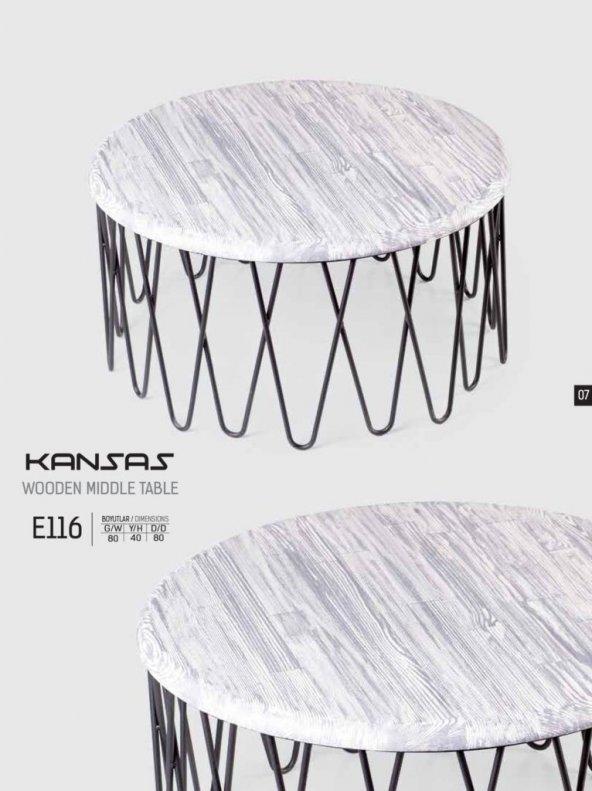 E116 Kansas Beyaz Desenli Ahşap Orta Sehpa