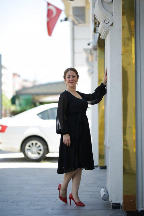 Yazlık Şifon Elbise - Siyah