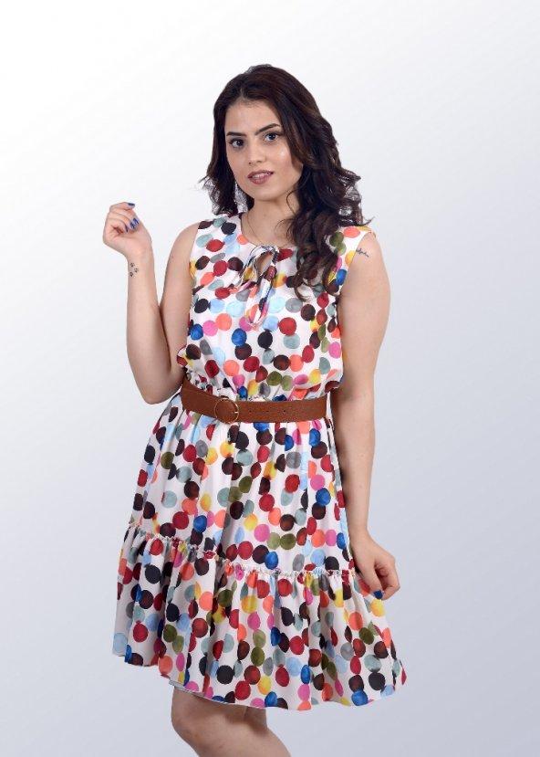 Renkli Puantiyeli Elbise