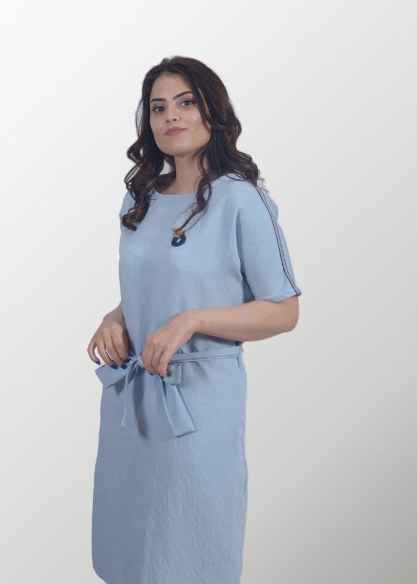 Mavi Keten Elbise